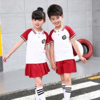 Polyester Kids School Uniforms Sets Turn - Down Collar Color Combination for sale