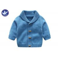China Soft Shawl Collar Kids Knitted Cardigan , Boys Blue Cardigan Sweater Fake Horn Wood Button for sale