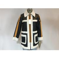 China Black PU White Shearling Polyester Coat Warm Contrast Pleather Jacket With Badges For Ladies for sale