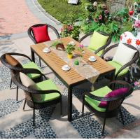 Wholesale Promotional wicker patio dining set garden rattan chair outdoor restaurant furniture with cushion from china suppliers