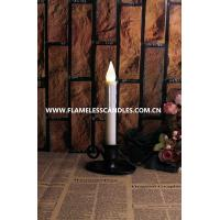 Wholesale Electric Flameless Taper White LED Candles with Pewter Finish Candlesticks and Holder from china suppliers