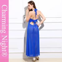 Quality Sexy Backless Long Night Lingerie Mature Women Transparent Night Dress for sale