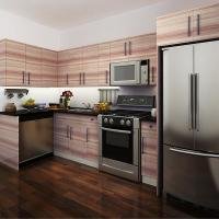 Wholesale Wood Grain Melamine Modern Kitchen Cabinets With Soft Closing Drawers And Hinges from china suppliers