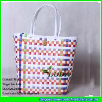 Wholesale LDSL-017 colorful pp strap beach straw tote bag from china suppliers