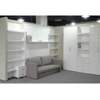 Quality Home Use Space Saving Double Wall Bed With Sofa and Bookshelf , E1 grade MDF for sale