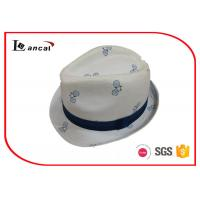 Wholesale Bicycle Printing White Cotton Trilby Hat Women With Seamless Splicing Ridded Band from china suppliers