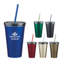 Wholesale 16 Oz. Stainless Steel Double Wall Tumbler With Straw from china suppliers