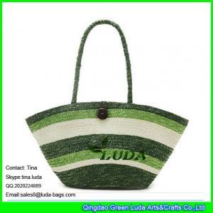 China LUDA striped wheat straw best beach bags cheap straw beach bags on sale