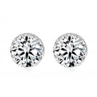 Wholesale Shiny NO Smell Sterling Silver Earring / White Round Crystal Post Stud Earring from china suppliers