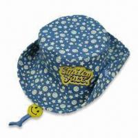 Wholesale Kids Bucket Hat with Allover Print and Embroidery, Made of 100% Cotton Canvas from china suppliers