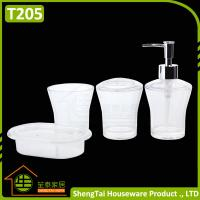 Wholesale Factory Manufacturer Cheap Price Good Quality White Transparent Plastic Bathroom Accessories Sets from china suppliers