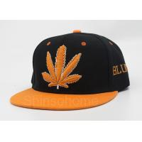 Wholesale 6 Panel Acrylic Flat Bill Hats Black Orange With Maple Leaf Logo from china suppliers