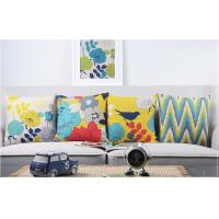 Quality Full Color  Heavy Cotton Linen Home Decorative Pillows Birds And Blooms Printed for sale