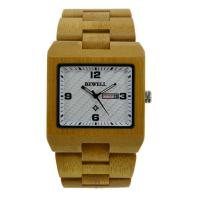 Wholesale Handmade Square Case Carbonized Bamboo Watch With Double Calendar from china suppliers