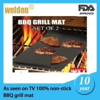 Wholesale Non-Stick reusable FDA BBQ grill mat / Rectangle cooking grill mat from china suppliers