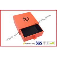Wholesale Bright Orange Embossed Paper Jewellry Gift Boxes with Black Aluminum Foil from china suppliers
