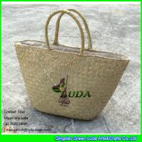 Wholesale LUDA wholesale natural purse and handbags logo printed seagrass straw handbags from china suppliers
