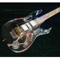 Wholesale High Quality Crystal Style Electric Guitar Acrylic Body Colorful  Led Light Gold Hardware Flower Inlay ,Red Swtich Can C from china suppliers