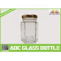 Wholesale Wholesale clear glass jar hexagon with metal lid from china suppliers