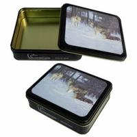 Wholesale CYMK Printed Square Tin Containers , Gift Packaging Box With Rolled Out Lid from china suppliers