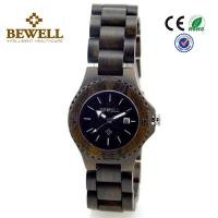 Wholesale BEWELL Fashion Quartz Wood Watch , Black Sandalwood wood face watch from china suppliers