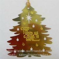 etched Christmas tree drop pendant