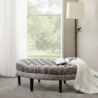 Quality Round Bed End Storage Bench Natural Dark Wood Tone With High Density Foam for sale