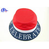Wholesale OEM Polyester Mesh Normal Printing Logo Printed Bucket Hats Navy and Red for Women from china suppliers