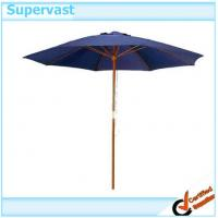 Wholesale Teak Premium Navy Blue Round Parasol Wood Patio Umbrella With Single Pulley Crank from china suppliers