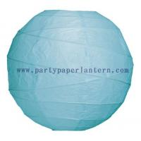 Wholesale 8 Inch Ice Blue Round Ribbed Party Paper Lantern for Weddings Decoration from china suppliers