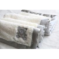 Wholesale White Cotton Baby Blanket , Embroidered Baby Blankets Bear Sherpa from china suppliers