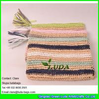 Wholesale LDZS-011 striped color clutch bag hand crocheting lady macrame paper straw clutch bag from china suppliers