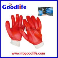 Wholesale Safety product red fluorescent finished coated pvc gloves from china suppliers