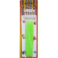Wholesale Tall Slender Glitter Birthday Candles 10 White Holders Fluorescent Green from china suppliers