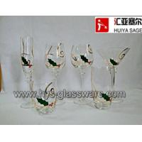 Buy cheap Hand painted holly wine glass set with gold line,6 shapes, Christmas design from wholesalers