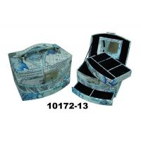Buy cheap Blue Square Faux Leather Jewelry Box With Handle & Mirror from wholesalers
