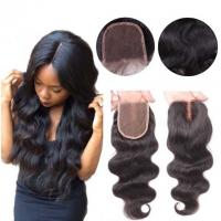 Buy cheap Middle Part Human Hair Lace Closure With Baby Hair 4x4 Natural Color Body Wave from wholesalers