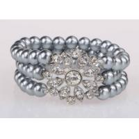 Wholesale Triple Strand Delicated Faux Pearl Stretch Bracelet With Big Flower For Wedding from china suppliers