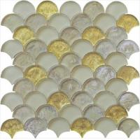 Wholesale Gold leaf with silver color series water waving glass mosaic from china suppliers