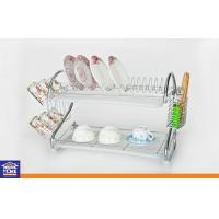 Wholesale Chrome Wire 2 Layer Dish Rack Home Kitchenware Cup Rack , Chopstick Rack and 1 pc Water Tray from china suppliers