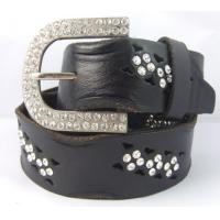 Wholesale full grain leather women's belts with rhinestone from china suppliers