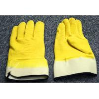 Wholesale Yellow Cotton Latex Coated Gloves Woven Fabric , Starched Cuff Open Back Dip from china suppliers