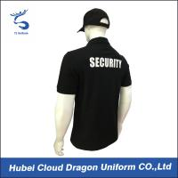 Buy cheap CVC Black Security T Shirt / Mens Polo Shirts With Pockets , Embroidery / Print Logo from wholesalers
