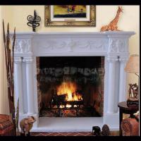 Wholesale Electric marble fireplace mantel surrounds with stone figure carvings,China marble fireplace supplier from china suppliers