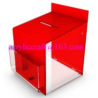 Wholesale 2015 new design clear and red acrylic suggestion box with lock from china suppliers