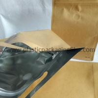 Quality moisture proof aluminum foiled coffee packaging bag with valve , kraft paper bag with zipper and handle for sale