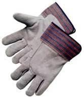 Wholesale Cow Split Leather Work Gloves With Striped Cotton Back For Automotive Manufacturing from china suppliers