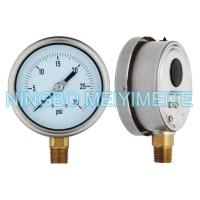 Wholesale Fillable Hydraulic Oil Pressure Gauge Stainless / Brass Material With Blow Out Disc from china suppliers