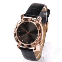 Wholesale Fashion Ladies Quartz Movement Watch , Round Leather Strap Watches With Mineral Lense from china suppliers