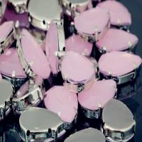 Wholesale pink oppal color sew on stone with silver metal frame from china suppliers